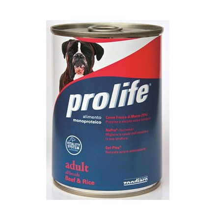 Prolife Dog Adult Manzo e Riso Lattina 400 grammi